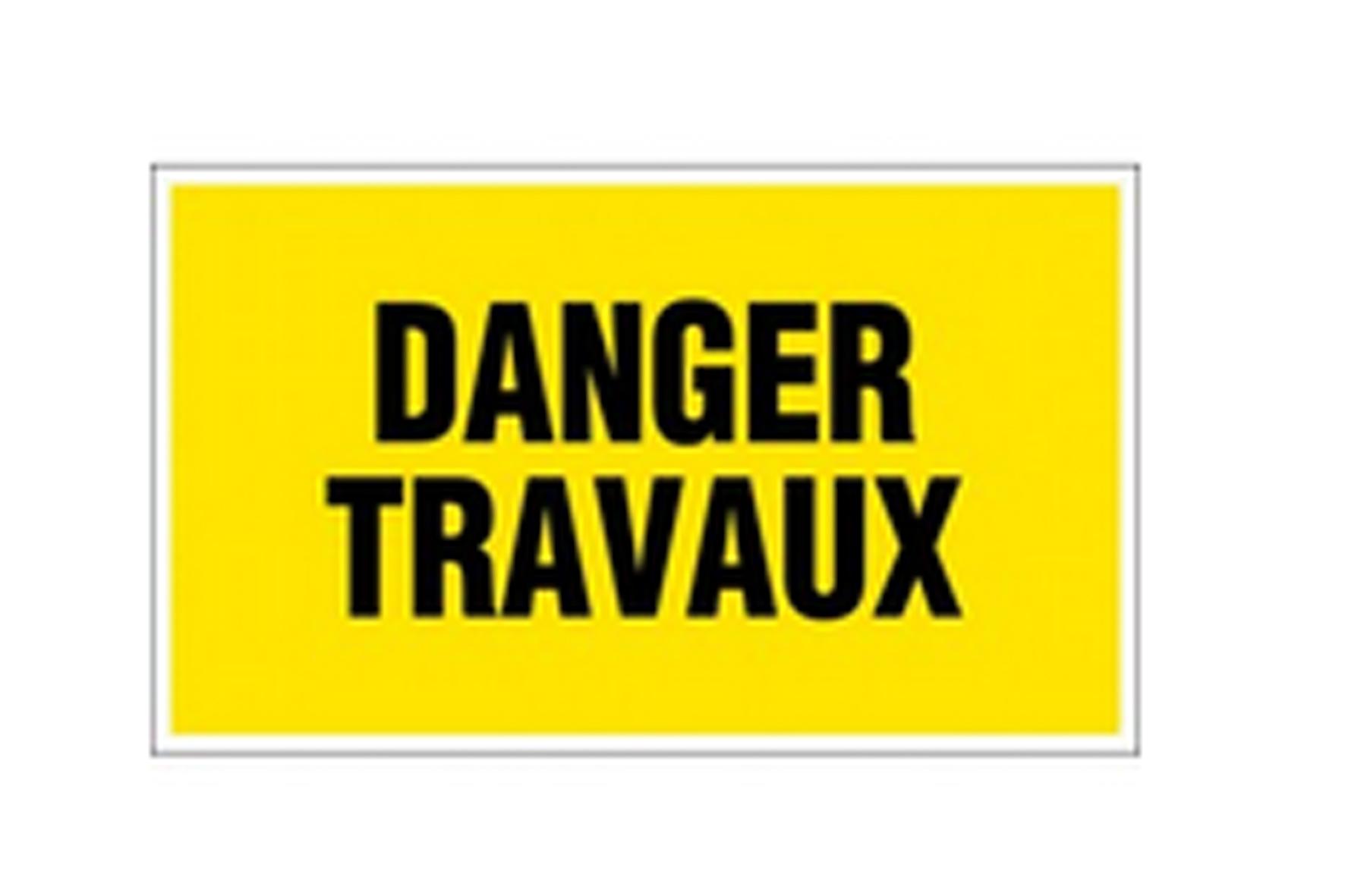 Panneau pvc rectangle danger travaux achat en ligne ou for Panneau inox autocollant