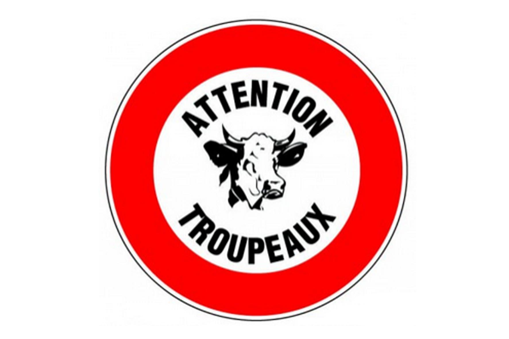 Panneau pvc rond attention troupeaux achat en ligne ou for Panneau inox autocollant
