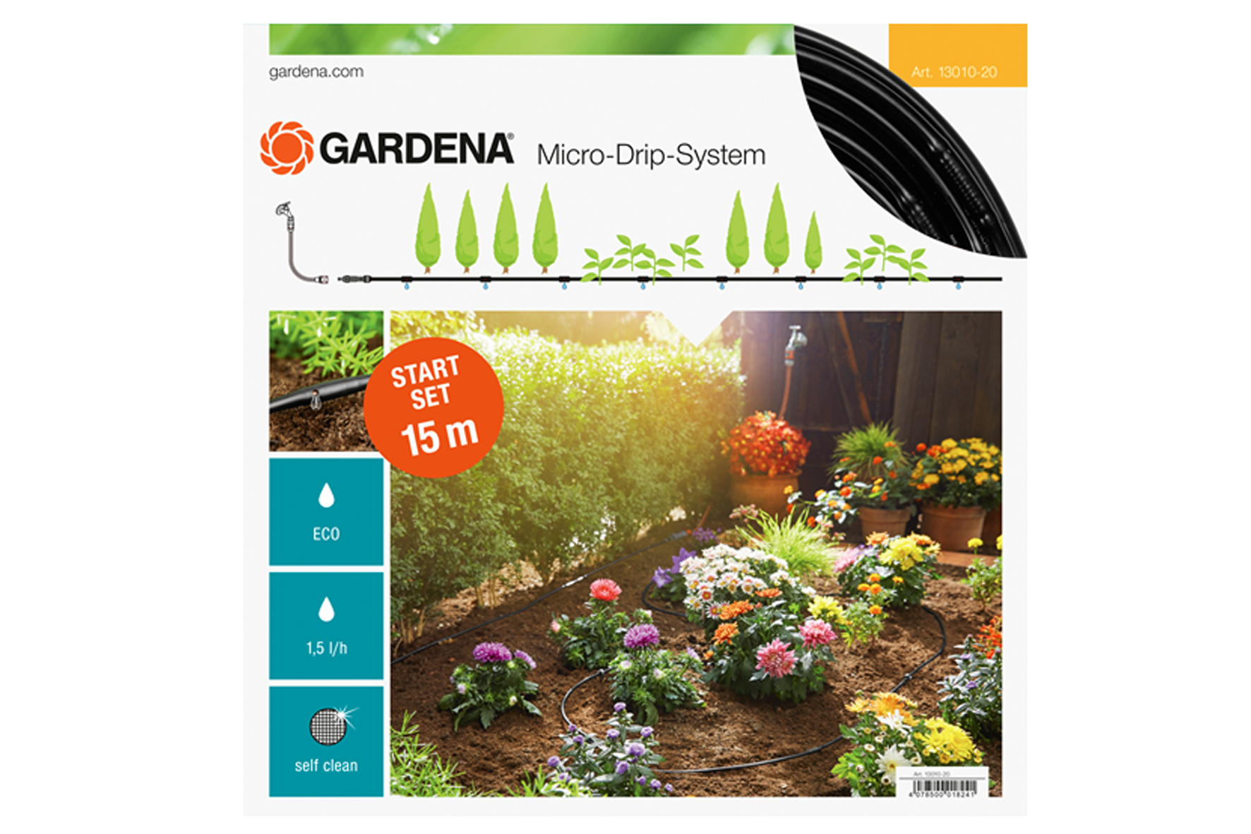 tuyau microdrip gardena - kit plantes ligne 15m. achat en ligne ou