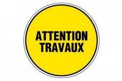 panneau pvc rond attention travaux
