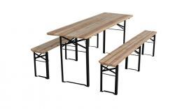 table brasserie + 2 bancs