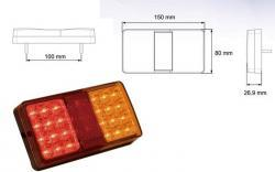 feu clignotant + stop led rectangle